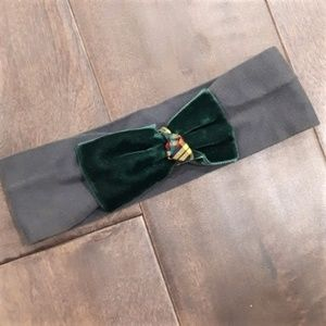 Other - Olive Green Baby Headband with Velvet Bow